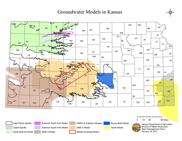 Groundwater Model Areas in Kansas
