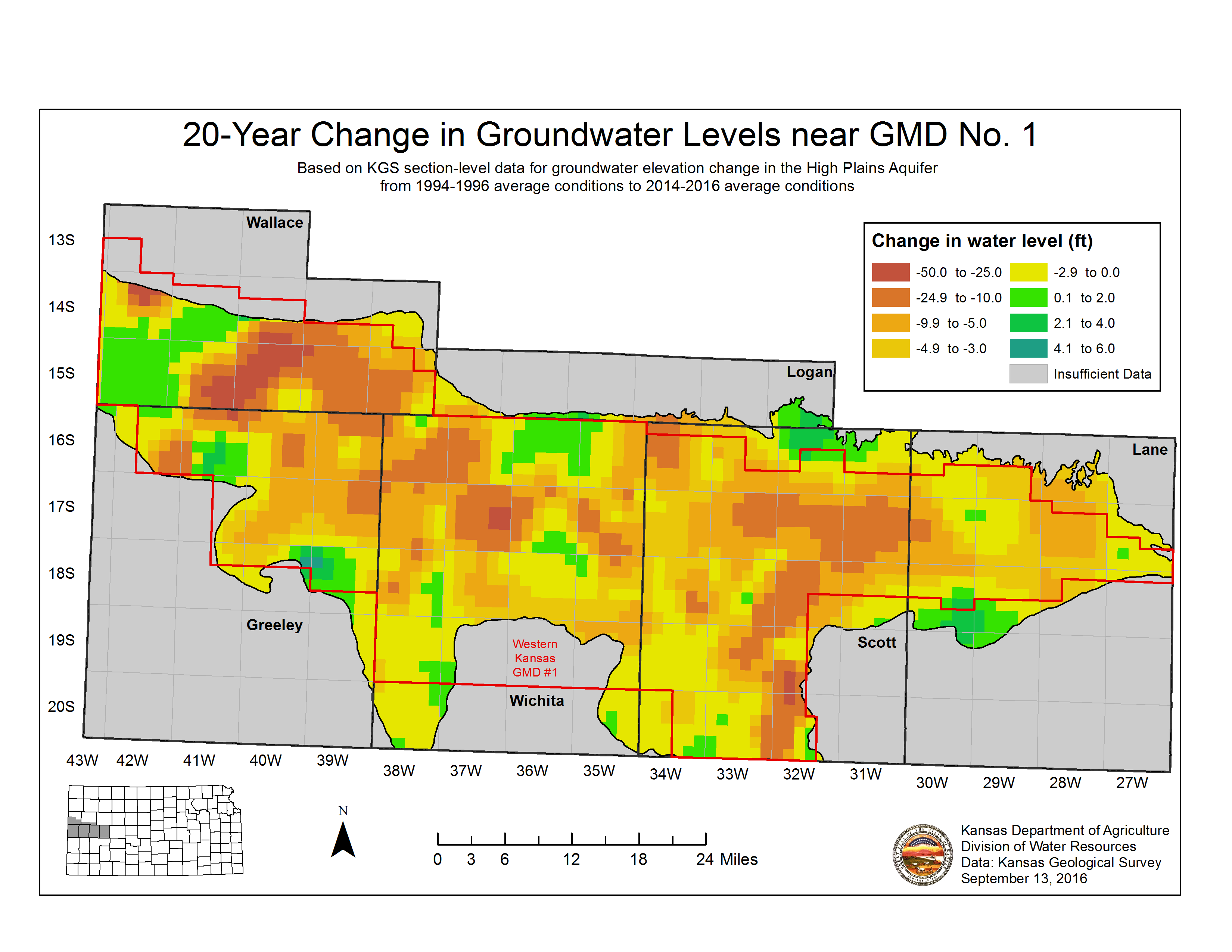 Groundwater level change in the High Plains aquifer in Western Kansas