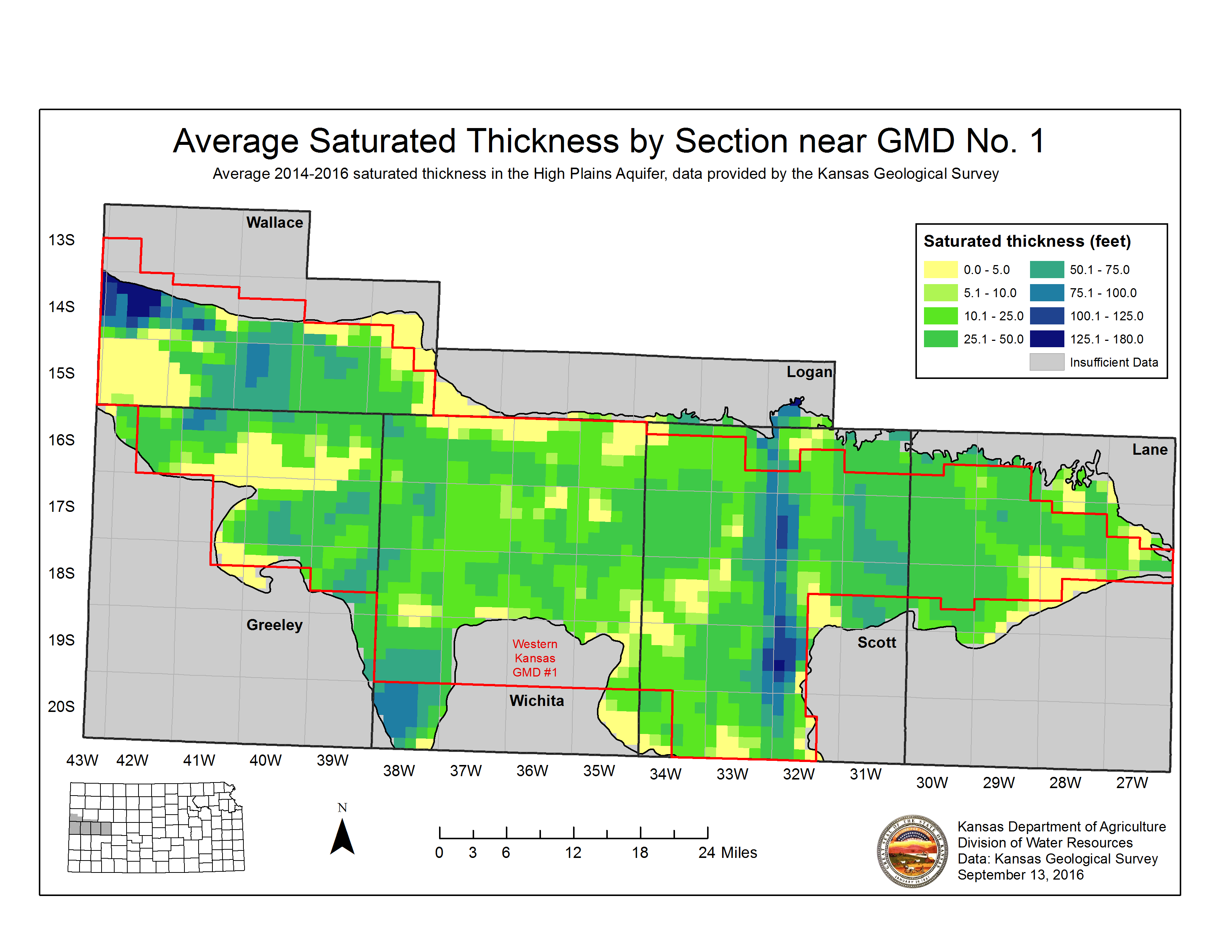 High Plains saturated thickness in Western Kansas
